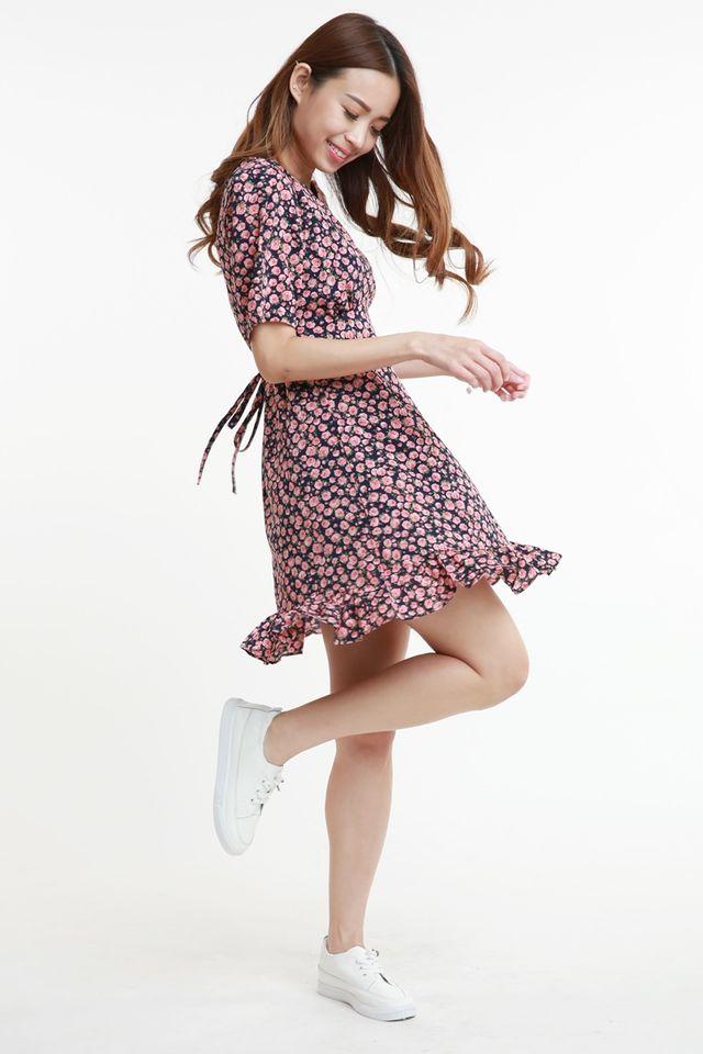SG IN STOCK - CAROLINE FLORAL DRESS IN NAVY PINK