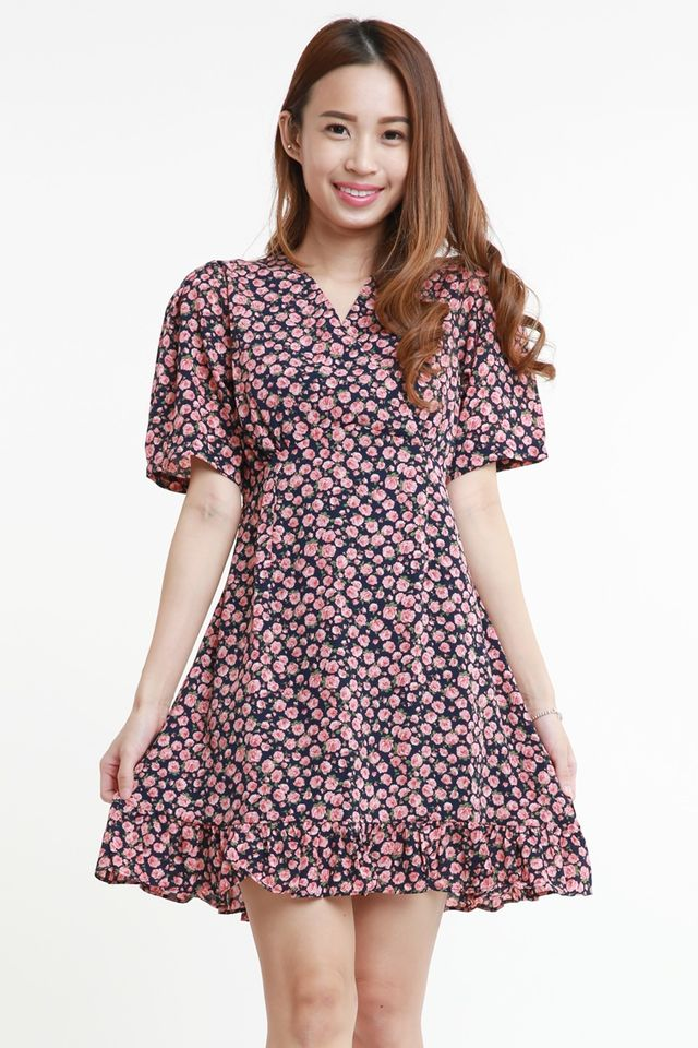 SG IN STOCK - CAROLINE FLORAL DRESS IN NAVY PINK