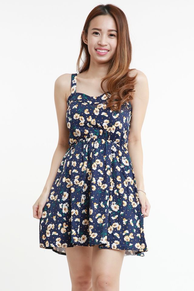 BACKORDER - OMIYA FLORAL DRESS (NAVY WITH YELLOW FLORAL)