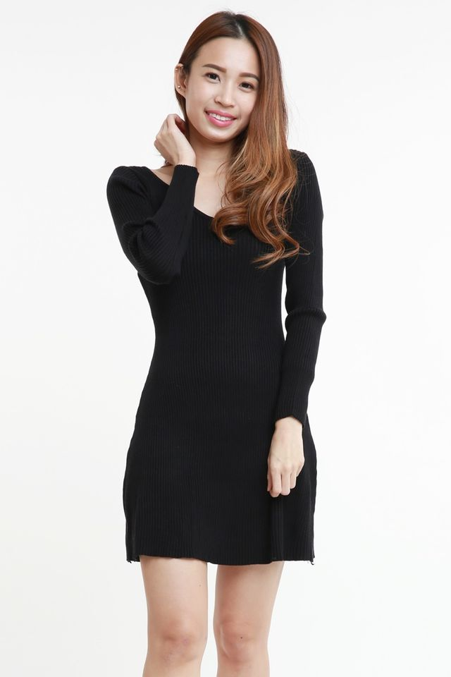 BACKORDER - VERON KNIT DRESS IN BLACK