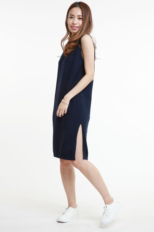 SG IN STOCK - BELLA  KNIT DRESS IN NAVY
