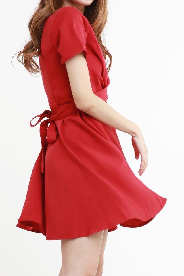 SG IN STOCK- PAULINE CROSS TIE DRESS IN MAROON RED