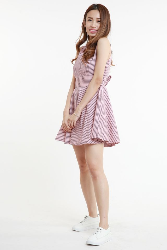 SG IN STOCK-  ALBERETTE STRIPES DRESS IN PINK