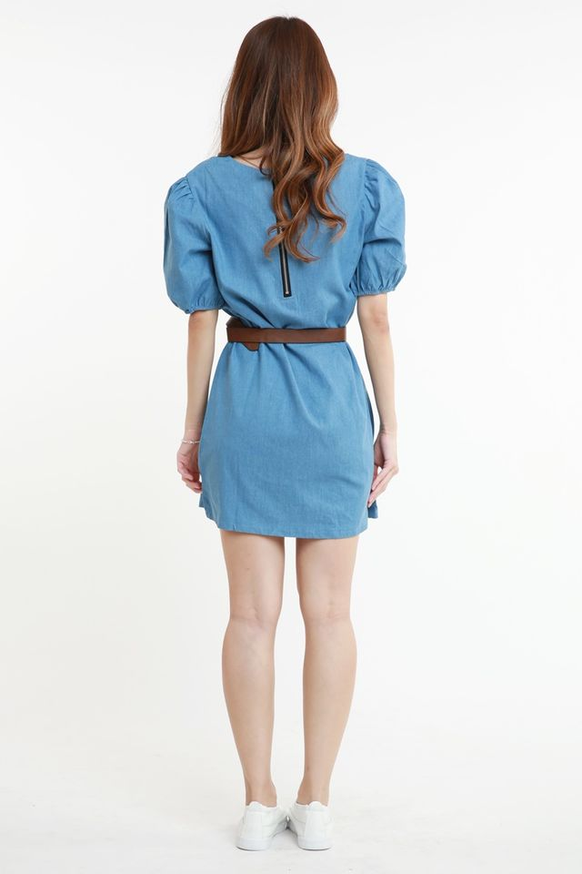 SG IN STOCK - COVEY DENIM DRESS WITH BELT