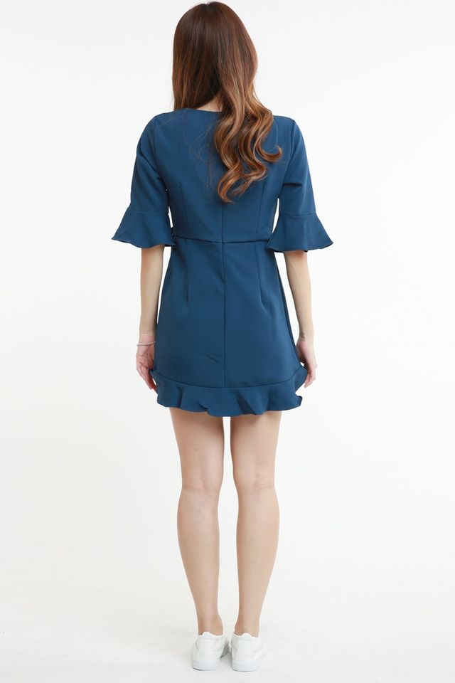 SG IN STOCK - MARLIN DRESS IN TEAL BLUE (WITH INNER PANTS)
