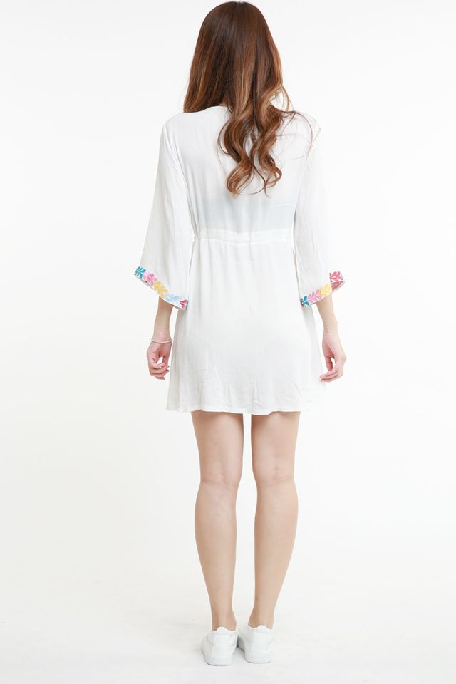 BACKORDER - ADLEY EMBROIDERY DRESS IN WHITE