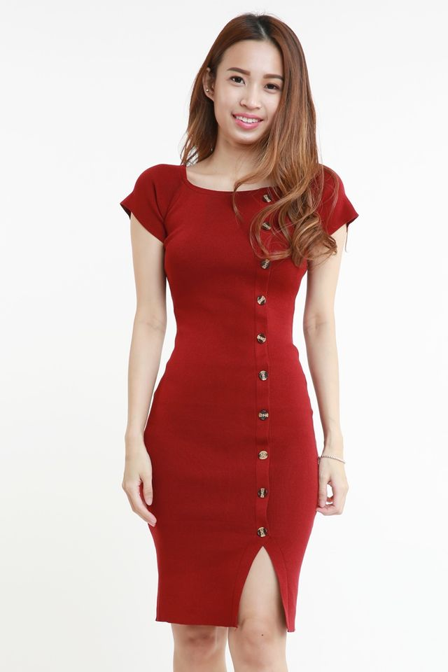 IN STOCK - OLINDA KNIT DRESS IN MAROON