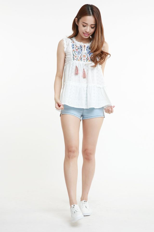 BACKRDER - SKYLER EMBROIDERY BABYDOLL TOP IN WHITE