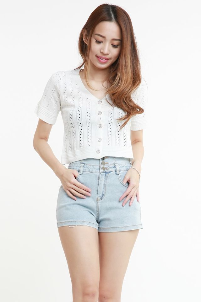 SG IN STOCK  - EPENA KNIT BUTTON TOP IN WHITE