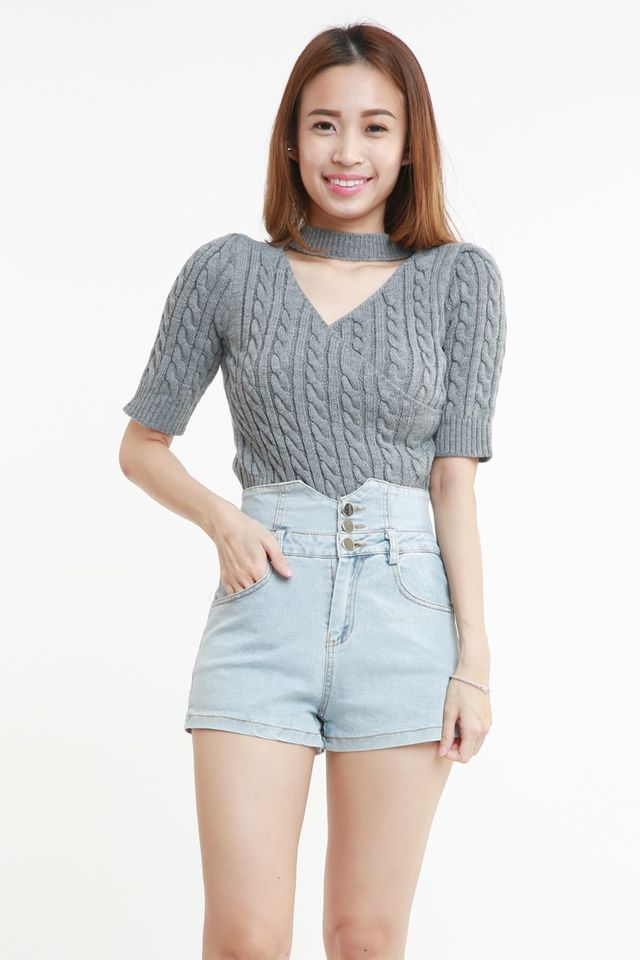 SG IN STOCK  - MIANCA TWO WAY KNITTED TOP IN GREY