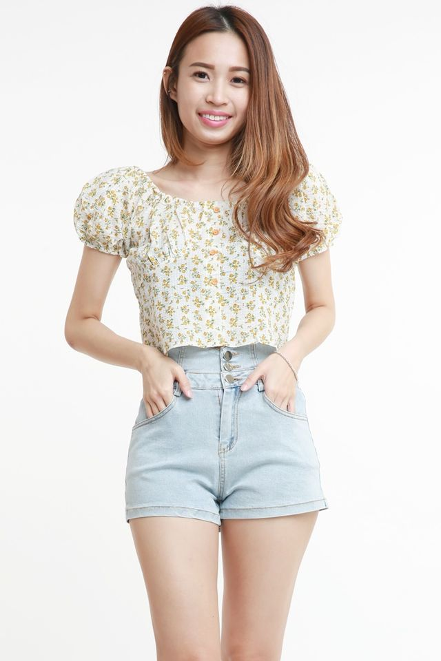 SG IN STOCK -  RAVENNE FLORAL TOP IN YELLOW