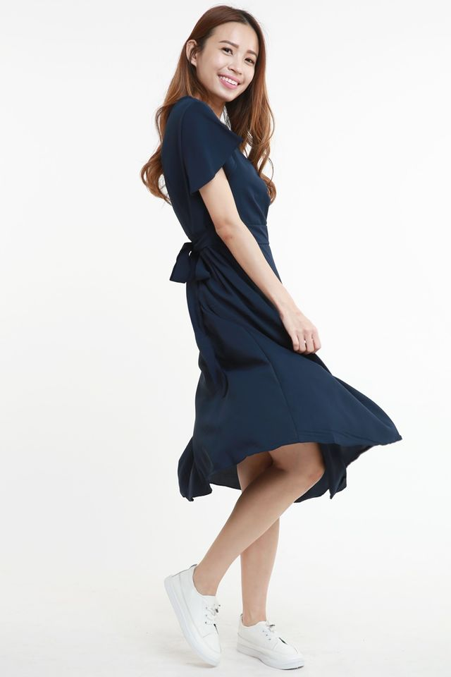 SG IN STOCK -  BRYCE MIDI DRESS IN NAVY