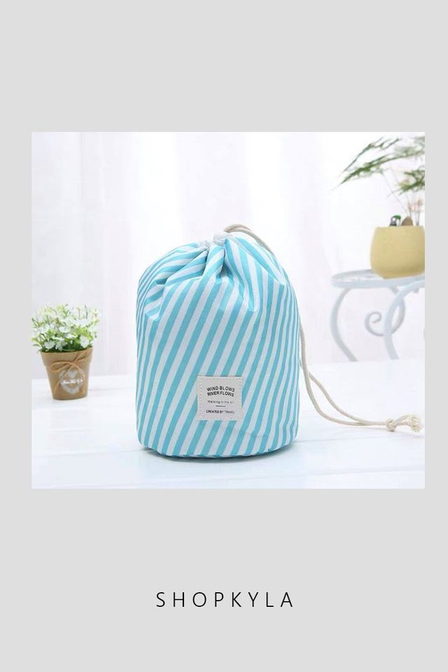 IN STOCK - ICONIC TRAVEL POUCH (STRIPES BLUE)