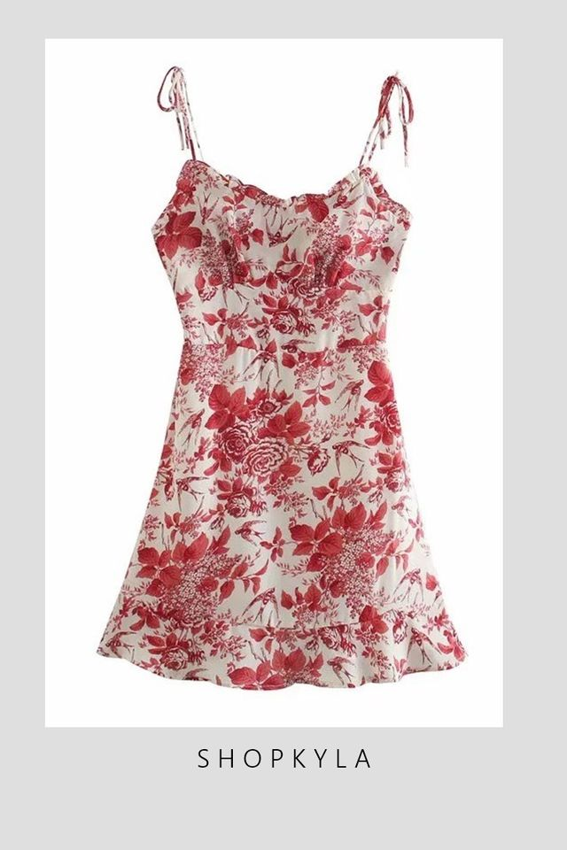IN STOCK -  GERALDINE FLORAL DRESS IN RED