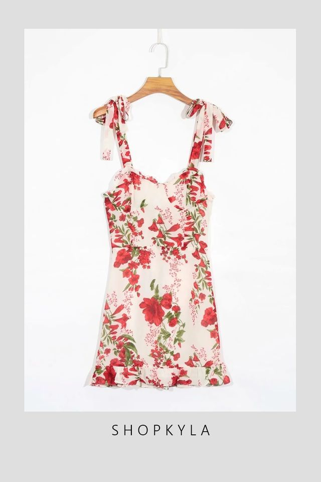 IN STOCK - KASPER FLORAL DRESS IN RED FLORAL